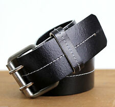 H&M ITALY BLACK GENUINE LEATHER DOUBLE HOLE BUCKLE WOMEN'S STITCHED BELT 36 (E78