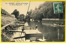 cpa 78 - POISSY Bord de la Seine Le BRAS MIGNEAUX Ponton de CANOTAGE Péniches