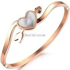 Cupid Arrow Love Heart Cuff Bangle Rose Gold Tone Women's Lady Bracelet w Shell