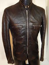 Vtg 50's Brooks Men J-100 Leather CAFE RACER Jacket Motorcycle BIKER Coat S 38