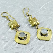 Pierre De Lune Blanche Femmes Couleur Or Drop Dangle Earrings Bijoux De Charme