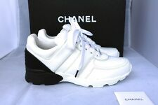 NIB AUTH 2016 CHANEL LEATHER WHITE BLACK TRAINERS SNEAKERS LACEUP SHOES Sz 39