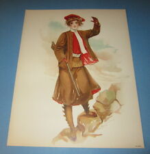 Old Vintage 1908 Antique VICTORIAN PRINT - Sporting Girls - HUNTING / RIFLE