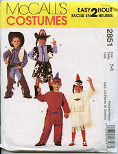 Cowboy and Indian Costume - McCalls Sewing Pattern for Kids - Sizes 5, 6 - NEW