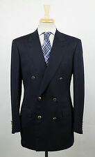 New. BRIONI Penne Oxford Blue Wool Double Breasted Sport Coat Size 50/40 R $3995
