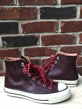 Converse All Star Chuck Taylor Red Burgundy Vintage Leather Hi Top 4.5 6.5 RARE*