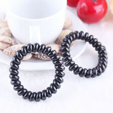 5PCS Women Black Elastic Rubber Telephone Wire Style Hair Ties and Plastic Rope