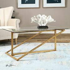"47"" ANTIQUE GOLD HEAVY IRON ART COFFEE COCKTAIL TABLE CONTEMPORARY GLASS TOP"