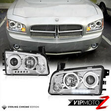 2006-2010 Dodge CHARGER Angel Eyes+LED+Projector Chrome Headlights Lamps SRT RT