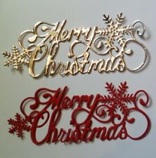Christmas Die Cut - Merry Christmas - x 10 (silver/red)