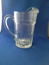 Vintage glass pitcher & five mugs-heavy clear glass