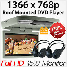 """15.6"""" DVD Player HDMI Roof Mount In Car Flip Down Monitor 12V/24V Vehicle Bus AT"""