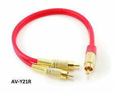 CablesOnline 1ft Single RCA Male to 2-RCA Male Gold-Plated Splitter Cable, Red