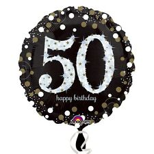 Black and Gold  Celebration 50th Birthday Foil Helium Balloon