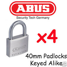 Padlocks ABUS Titalium 40mm Padlocks  x4  BULK LOT High quality Keyed Alike
