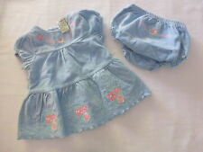 Guess***Robe velours 0/3 mois Culotte Blue Velvet dress 0/3 months Bloomer