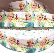 """1"""" Frozen Elsa Making Flowers Moves Printed Grosgrain Ribbon Hairbow USA Seller"""