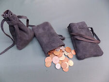 Medieval/Larp/SCA/Pagan/Reenactment Black Leather DRAWSTRING MONEY POUCH/ BAG