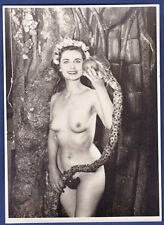 vintage large risque photo nude Eva snake appel girl nu Akt foto by Roye ca 1955