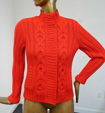 St John Red Cable Knit Cardigan Sweater Jacket sz M