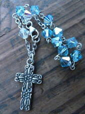 SMALL CHILDS BRACELET ROSARY FLORAL CROSS STERLING SWAROVSKI CRYSTALS BLUE CLEAR