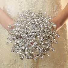 New Hand Made Crystal Wedding Bouquet Artificial Flower Wedding Decor Glass Bead