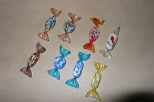 Lot 8 art glass pieces of candy with twist ends for a decorative touch