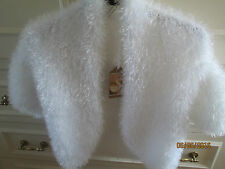 LADIES HANDMADE knit WHITE  SOFT fluffy EYELASH BOLERO SHRUG 10 12   BNWT