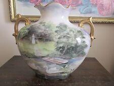 Vienna Austria Hand Painted Two Handles Porcelain Vase Scene Scenic Gold