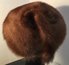 "VINTAGE REAL FUR HAT 19-20"" SHINNY LT BROWN MINK WITH TAIL 'MISS STEHR'"