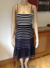 STUNNING JS BOUTIQUE STRIPED SPAGHETTI STRAP EVENING DRESS UK SIZE 8 WORN