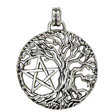 Sterling Silver Tree of Life Yggdrasil Pentacle Pentagram Pendant Jewelry Wicca