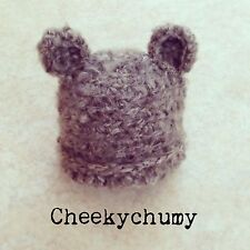 Fluffy Mohair Oatmeal crochet bear Beanie hat. Photo photography prop. Newborn.