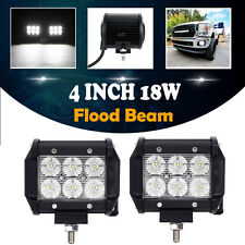 """2X 4"""" 18W CREE LED WORK LIGHT BAR FLOOD MOTORCYCLE OFFROAD RZR XP1K RZR1000 BOAT"""