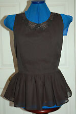 New Sz 16 Chiffon Black lined Peplum blouse Top with Button Pattern Collar