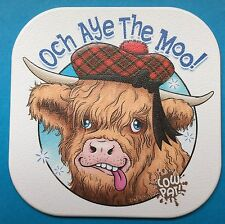 Highland Cow 'Och Aye The Moo' mug and coaster set