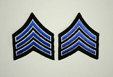 2 Post Vietnam US Army ? Buck Sargent Blue Stripes Cloth Jacket Patch New NOS