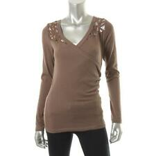 Victoria's Secret 9697 Womens Brown Knit Lace Inset Pullover Top Shirt XL BHFO