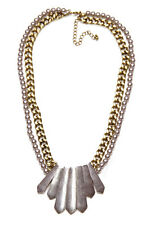 EYE CATCHING FUTURISTIC SILVER DOUBLE NECKLACE WITH METALLIC EMBELLISHMENTS(NS4)