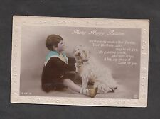 Posted 1923 Birthday Card: Small Boy & Dog: May all be Gay