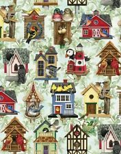 Fat Quarter Beautiful Birds Bird Houses Box Azure Cotton Quilting Fabric