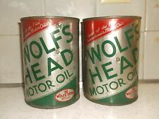 VINTAGE WOLFS HEAD MOTOR OIL TIN CANS