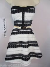 NWT BEBE TARYN SHEER STRIPE FLARE DRESS SIZE  S Strip perfect dress with a flare