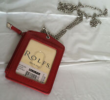 Rolfs Leather Red ID Badge Holder Zippered Lanyard With Neck Chain 3 Cards Slot