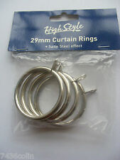 Pack of 4 High Style 29mm Curtain Pole Rings Satin Steel Effect, BNIP