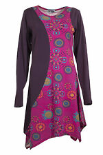 New Colour Fashion 8 -16 Black Brown Purple Ethnic Boho Hippy A line Tunic Dres