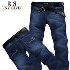 2015 New Classic denim Pants Slim Straight Dark Blue Cotton Casual Men's Jeans
