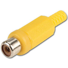 RCA Phono Female Inline Cable Socket Solder Connector - Yellow