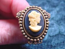CHAT-T2-1) Lady wavy hair navy blue oval CAMEO hatpin hat Pin pins brass JEWELRY