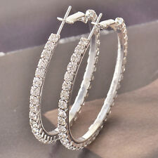 46*3mm 9k white gold filled Around Cubic Zirconia Ladies Hoop Earrings F4531